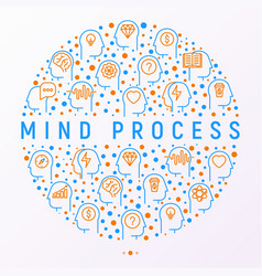 mind process concept in circle vector image