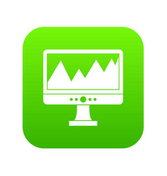monitor and a chart icon digital green vector image