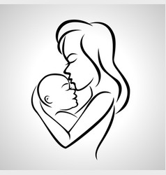 Mother holding a baby with her arm vector