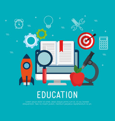 on line education with computer vector image