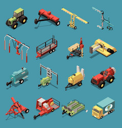 Orchard machinery isometric set vector