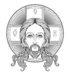 orthodox jesus christ with halo beautiful vector image