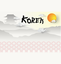 Paper art of welcome to south koreas travel vector