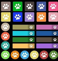 Paw icon sign Set from twenty seven multicolored vector
