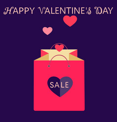 pink shopping bag with heart valentines day sale vector image