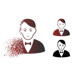 Pitiful moving pixel halftone dealer icon vector
