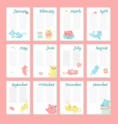Planner calendar template with cute cats vector