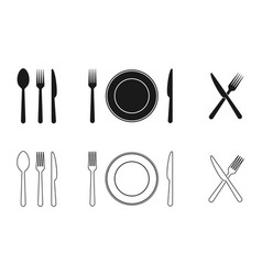 Plate knife fork and spoon icons set tableware vector