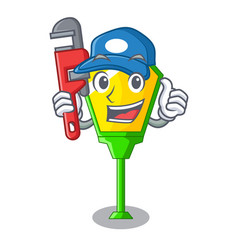 Plumber character a lamp in post style vector
