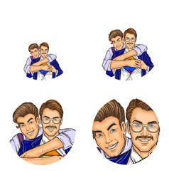 Pop art social network user avatars of gay vector