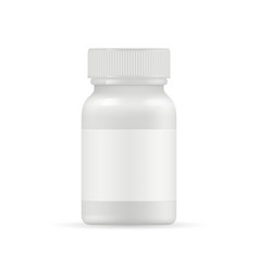 realistic medication bottle mockup white vector image