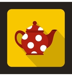 Red spotty teapot icon flat style vector