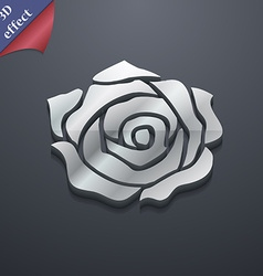 Rose icon symbol 3d style trendy modern design vector