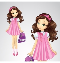 School Pink Girl Hold Backpack vector image