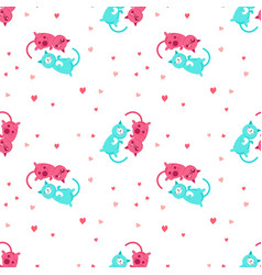 Seamless pattern with cute cats in love vector