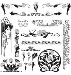 Set floral patterns vector