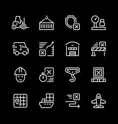 set line icons logistics vector image