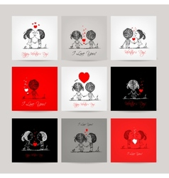 Set of business cards couple in love together vector