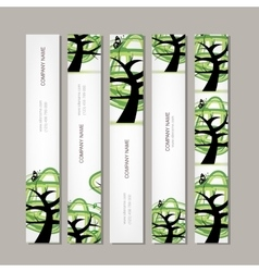 Set of vertical banners with green tree vector image