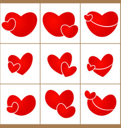 set red valentine hearts on white background vector image