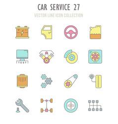 set retro icons car service vector image