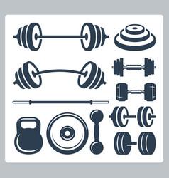 Set sport weights for bodybuilding fitness vector