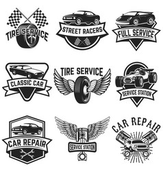 Set tire service car repair labels pistons car vector