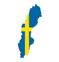 silhouette country borders map of sweden on vector image