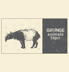 Silhouette tapir in grunge design style animal vector