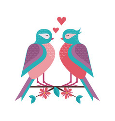 spring birds couple on tree branch vector image