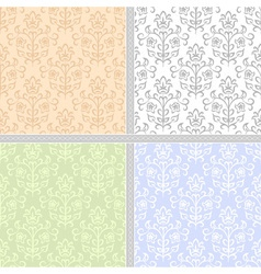 Summer floral seamless patter set vector