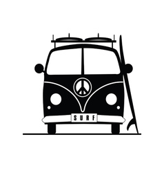 surf vehicle with hippie sign on it in black vector image