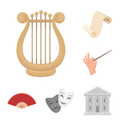 Theatrical art cartoon icons in set collection for vector
