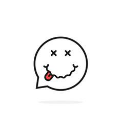 Thin line drunk emoji speech bubble logo vector