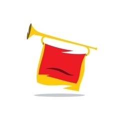 Trumpet with a red flag cartoon vector