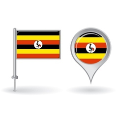 Uganda pin icon and map pointer flag vector