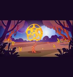 Unusual mushroom in forest swamp on alien planet vector