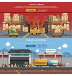 Warehouse horizontal banner set vector