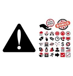 Warning Error Flat Icon with Bonus vector image