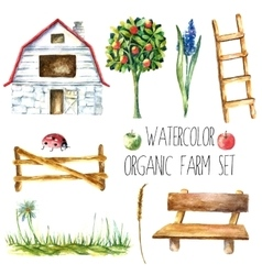 Watercolor organic farm vector image