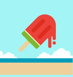watermelon ice cream with beach background summer vector image