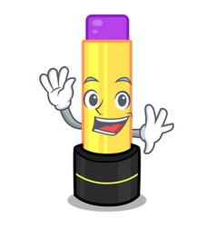 Waving lip balm above mascot dressing table vector