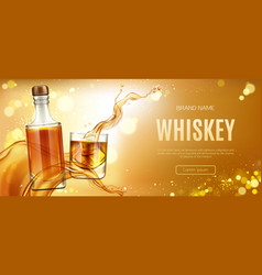 whiskey bottle and glass with ice cubes banner vector image