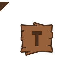 wooden alphabet or font blocks with letter t in vector image