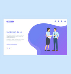 Working task exchanging papers woman and man vector
