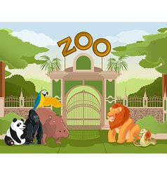 Zoo gate with animals 2 vector