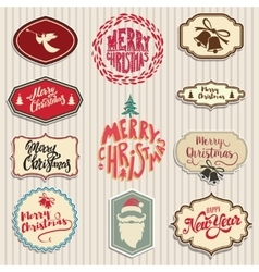 christmas emblems set Santa Claus beard angel vector image