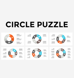 circle arrows puzzle infographic cycle vector image
