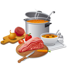 cooking hot soup vector image vector image