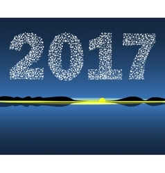 Happy New Year 2017 starburst dawn vector image